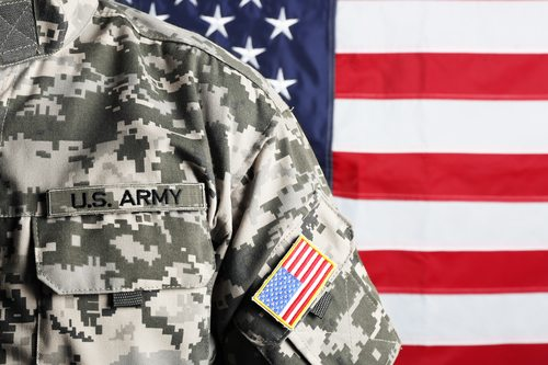 Shoulder of army soldier on American flag background