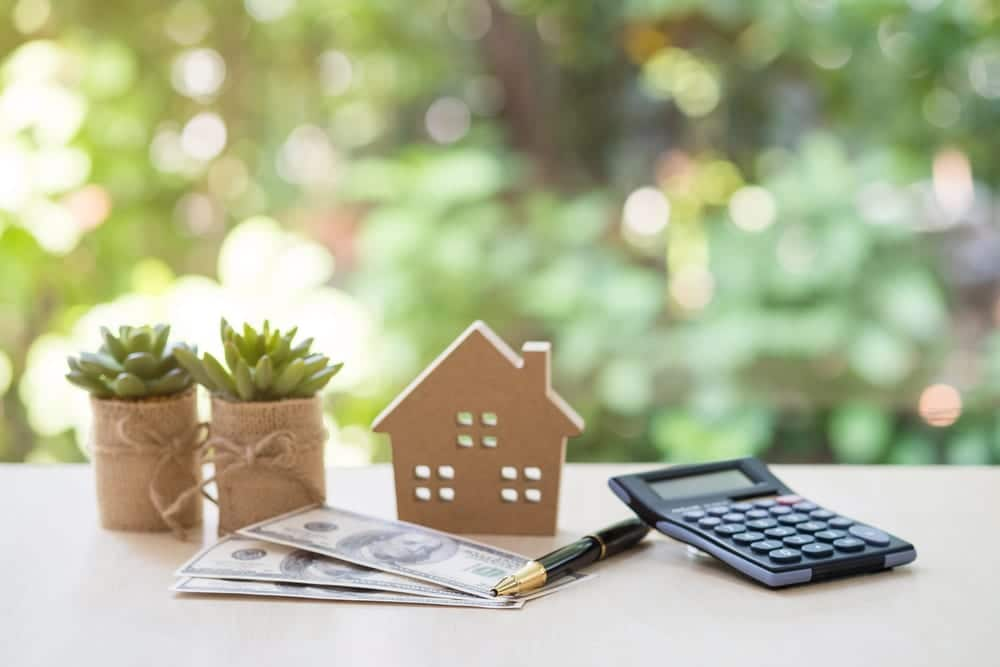 calculator, pen, cash, small house model, and small plants on table