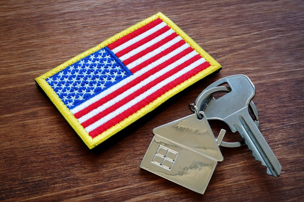 House key and American flag patch